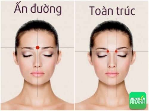 Điểm huyệt ấn đường & toàn trúc để chữa đau đầu.